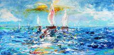 Original Oil Painting Ocean Sailing modern palette knife impressionism oil on canvas fine art by Karen Tarlton