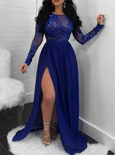 Sparkling A-Line Royal Blue Evening Dress Long Sleeve Lace Appliques Sequined High Slit Round Neck Prom Dresses Elegant Formal Party Gowns My+email:+lorlaris@ Please+refer+to+our+size+chart+carefully+before+you+place+the+order.+If+standard+size+does+not Royal Blue Evening Dress, Royal Blue Prom Dresses, Long Sleeve Evening Dresses, Blue Evening Dresses, Prom Dresses Long With Sleeves, Plus Size Prom Dresses, Sexy Dresses, Royal Blue Bridesmaids, Royal Blue Outfits
