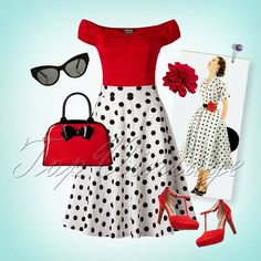 Dance the night away in this lovely Retro Look! We are in love, Red, black and white are such a beautiful combination!