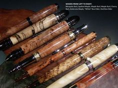 Hand Turned Wood Pens from Burls & Other Specialty Woods by Stephanie Walsh, via Kickstarter.