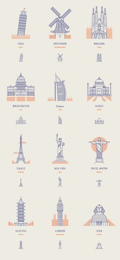 World landmarks line icons by Makers Company
