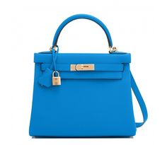 Hermes Blue Zanzibar 28cm Togo Kelly Bag Gold Hardware