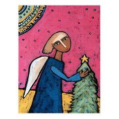 2018 Angel and Christmas tree postcard calendar - merry christmas postcards postal family xmas card holidays diy personalize