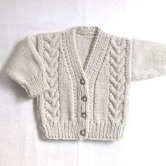 Infant Aran cardigan - 6 to 12 months - Baby Aran hand knit sweater - Baby Knitwear - Gift for baby - Handknit infant clothes - Free patterns Aran Baby Cardigan clothes Free gift HAND Handknit infant knit Knitwear months Patterns sweater
