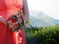 Coral BM bouquet flowers by green goddess flower studio