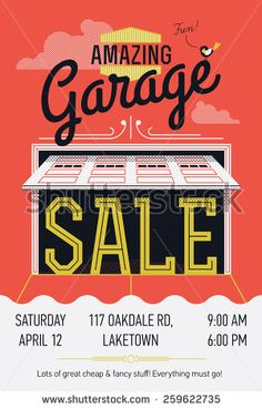 Creative vector colorful garage or yard sale event square web ...