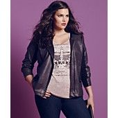 Style&co. Plus Size Coated Motorcycle Jacket,  Three-Quarter-Sleeve Crown-Print Top & Tummy Control Straight-Leg Jeans