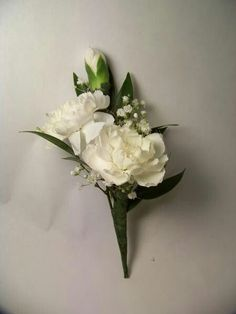 White miniature carnation boutonniere