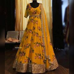 Order #HK1253 BUTTER SILK with DIGITAL PRINT with Embroidery work Gown₹1315 on WhatsApp number +919619659727 or ArtistryC.in