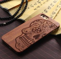 Solid Wood Carving Skull Case for iPhone 5 5S iPhone 6 6S iPhone 6 6S Plus   eBay