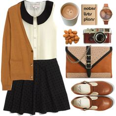 Browns, blacks, creams. T-straps. Peter Pan collar. Skirt. Cardigan.