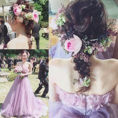 * * マリ♡オススメhair * * wedding たっぷり生花はいかが? * * #ヘアアレンジ #ウェディング #ネイル #浜松市 #マリhair