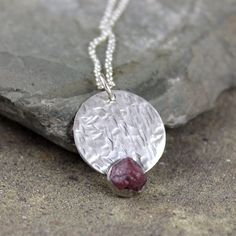 Raw Ruby Pendant - Ruby Necklace - Sterling Silver Rustic Jewellery - July Birthstone - 40th Anniversary Gemstone - Raw Rough Uncut Ruby by ASecondTime on Etsy https://www.etsy.com/listing/200961921/raw-ruby-pendant-ruby-necklace-sterling