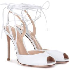 Gianvito Rossi Leather Sandals found on Polyvore featuring polyvore, women's fashion, shoes, sandals, heels, white, leather high heel sandals, leather heeled sandals, white shoes and white heeled sandals