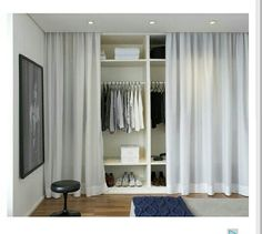 Nice Decorar Casa Low Cost that you must know, Youre in good company if you?re looking for Decorar Casa Low Cost Curtain Wardrobe Doors, Closet Curtains, Closet Bedroom, Bedroom Storage, Ideas Armario, Bedroom Furniture, Bedroom Decor, Small Space Interior Design, Glam Room
