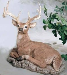 Reclining Buck by Henri Studio : Apollo Statuary: Statues, pedestals, planters, fountains, and much more! Deer Statues, Apollo, Pedestal, Recliner, Kangaroo, Studio, Planters, Animals, Art