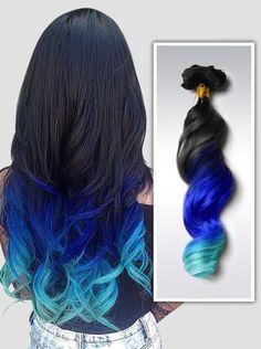 Bleu tip dye extension C017 - la plus populaire série, vous l'aimez? #vpfashion #extensionscheveux #dipdye #cheveuxbleux #frvpfashion