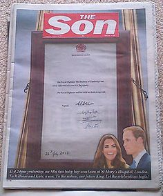 The Sun / The Son Prince William And Kate Souvenir Edition