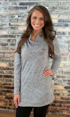 Grey Button Sweater - The Pink Lily Boutique