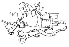 Unmounted-Rubber-Stamps-Seamstress-Sew-Sewing-Pin-Cushion-Sewing-Notions
