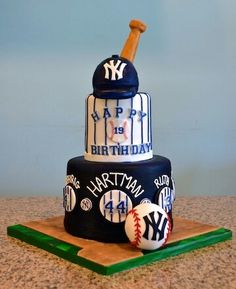 Check out our cake gallery to see some of the amazing custom creations we've made in the past! Get inspired for your next cake order! Baseball Birthday Cakes, Baseball Party, Baseball Cakes, Yankee Cake, Sports Themed Cakes, Foto Pastel, Biscuit, Sport Cakes, Cake Gallery