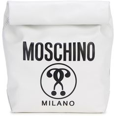 Womens Clutches Moschino White Paper Bag Leather Clutch ($560) ❤ liked on Polyvore featuring bags, handbags, clutches, moschino handbag, white leather purse, leather clutches, leather purse and real leather handbags