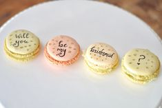 Bridesmaid gift! Such a cute way to ask your friends to be bridesmaids! Find them on Etsy! Custom macarons