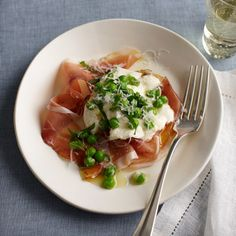 Burrata with Speck Peas and Mint By Food And Wine #BurratawithSpeckPeas #Food&Wine