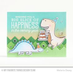 You're Rawr-some Stamp Set and Die-namics, Big Birthday Sentiments Stamp Set, Chevron Fringe Die-namics - Melania Deasy  #mftstamps