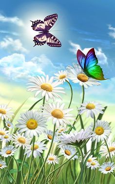 "Daisies & Butterflies~~J Related Post seasonalwonderment: "" Daisies "" "". Flowers an. Daisies Butterflies 2 String Art My current design would include 3 red tulips, 2 bu. Butterfly Painting, Butterfly Wallpaper, Butterfly Art, Flower Art, Beautiful Butterflies, Beautiful Flowers, Beautiful Wall, Abstract Backgrounds, Wallpaper Backgrounds"