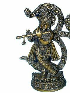 "Om Krishna Brass Sculpture Hindu Artistic Statue 8inch"" #Mogulinteriordesigns @ http://www.amazon.com/dp/B00K1V53CI"