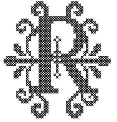 Counted Cross Stitch Pattern Formal Letters for Initials Letter R - Instant Download Epattern PDF File