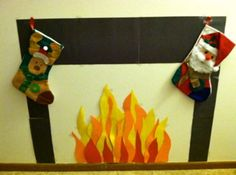 Construction Paper fire place our family made for Santa Claus ...