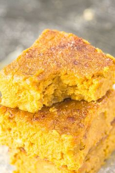 Four Ingredient Flourless Pumpkin Gingerbread Blondies Recipe- Soft, fudgy and with NO flour, butter or sugar; these are a healthy sweet treat or snack which are SO delicious! {Vegan, gluten-free, egg-free, paleo options} -thebigmansworld.com