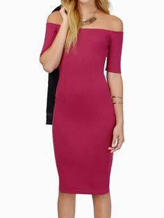 Fuchsia Off Shoulder Short Sleeve Bodycon Dress was $23.99 now $21.59