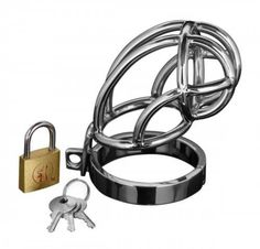 This erection inhibiting device is made of durable stainless steel and features a shortened cage with a locking base piece. Simply place him in the cage and fasten the base ring using the simple pin mechanism. The hinged base ring has a rubber sleeve at the joint to prevent pinching. Then just place the pin through the top of the cage and secure him with the included lock and keys. You decide when he is free... Measurements: Cage: 4 inches in length, 1.4 inches inner diameter; Base ring…