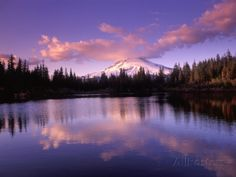 Mirror Lake, Oregon | Mt. Hood Reflected in Mirror Lake, Oregon Cascades, USA Photographic ...