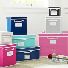 Hot pink canvas bins for Elsie Bookcase.