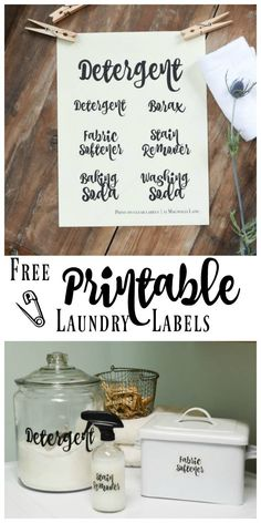 Laundry Room Organization and Free Printable Labels | http://creativehome.mohawkflooring.com/laundry-room-organization-printable-labels/