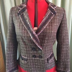 Gorgeous Rebecca Taylor skirt suit Brown fabric with pink/cream plaid pattern, precious detailing on sleeves, collar and skirt waist.  Both pieces fully lined.  I bought as NWOT and have never worn it. Rebecca Taylor Skirts Skirt Sets
