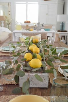 summer decor Simple Summer Decorating Home Tour - welcome to our casual cottage dining room, decorated in neutral colors and zingy lemon! Simple Dining Table, Dining Room Table, Dining Chairs, Lemon Centerpieces, Farmhouse Table Plans, Cottage Farmhouse, Coastal Cottage, Cottage Dining Rooms, Summer Decorating