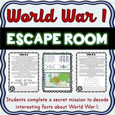 Awesome, World War I Escape Room Activity, Use to take off your order. World War I, World History, Treaty Of Versailles, Parent Newsletter, Interesting Facts About World, History For Kids, Skills To Learn, Problem Solving Skills, Cloud Strife