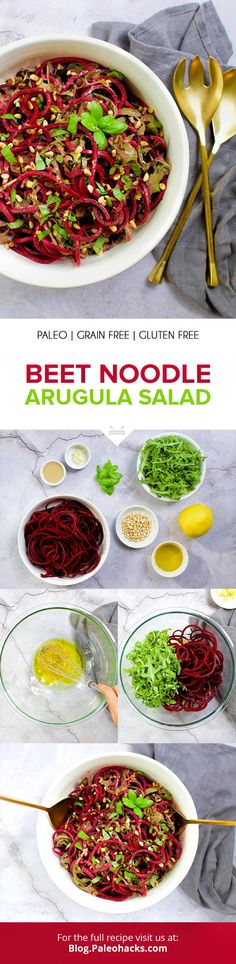 Keep things refreshingly cool with this crunchy beet noodle salad dressed with a creamy lemon tahini sauce! Paleo Salad Recipes, Lunch Recipes, Appetizer Recipes, Healthy Recipes, Healthy Salads, Fun Easy Recipes, Clean Recipes, Side Dish Recipes, Lemon Tahini Sauce
