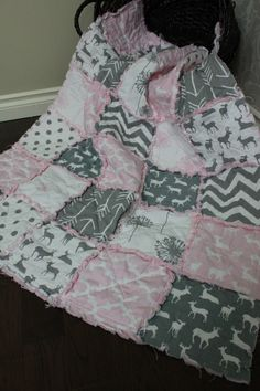 Rag Quilt, Baby Rag Quilt, Crib Blanket, Premier Prints, Pink And Grey, Pink Deer Quilt, Arrows, Ready To Ship by RozonsRags on Etsy https://www.etsy.com/listing/250354506/rag-quilt-baby-rag-quilt-crib-blanket