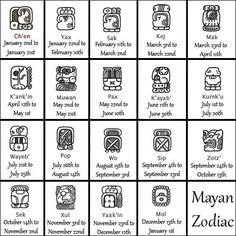The Mayan Astrology Signs are divided into 19 zodiac signs in an astrological system that was developed by ancient Mayans, based on their Gods. There is a lot of mystery surrounding Mayan astrology that persists to this day. Mayan Astrology, Mayan Zodiac, Astrology Signs, Astrology Zodiac, Zodiac Signs Calendar, Astrology Calendar, Mayan Glyphs, Mayan Tattoos, Aztec Calendar