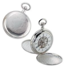 Silver Shield Premium Mechanical Pocket Watch with Chain