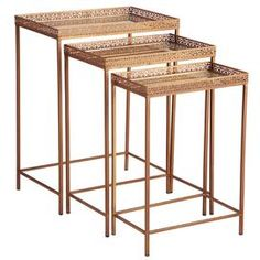 """Set of three mirror-topped iron nesting tables in antiqued brass with gilt cage trim.          Dimensions: 24"""" H x 18"""" W x 12"""" D (large)"""