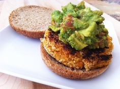 Chipotle Quinoa Sweet Potato Burgers with Crunchy Guacamole