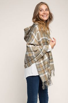 Esprit / hooded check poncho