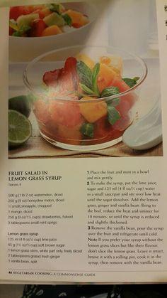Fruit Salad in Lemon Grass Syrup Honeydew, Cantaloupe, Lemon Syrup, Lime Juice, Lemon Grass, Fruit Salad, Watermelon, Vegan Recipes, Mint